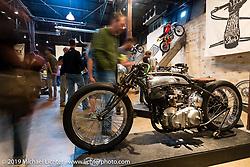 Cristian Sosa's (Sosa Metal, Las Vegas, NV) Suavecito Pomade Indian Boardtracker on Saturday at the Handbuilt Motorcycle Show. Austin, TX. April 11, 2015.  Photography ©2015 Michael Lichter.