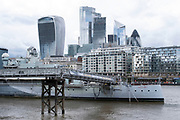 With the Coronavirus pandemic well into its fourth month, HMS Belfast remains closed, across the River Thames from the City of London as daily life continues but on far quieter streets on 2nd July 2020 in London, United Kingdom. Coronavirus or Covid-19 is a respiratory illness that has not previously been seen in humans. While much or Europe has been placed into lockdown, the UK government has put in place more stringent rules as part of their long term strategy, and in particular social distancing.