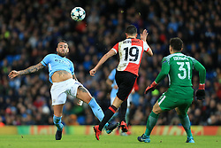 21st November 2017 - UEFA Champions League - Group F - Manchester City v Feyenoord - Nicolas Otamendi of Man City beats Steven Berghuis of Feyenoord to the ball as Man City goalkeeper Ederson approaches - Photo: Simon Stacpoole / Offside.