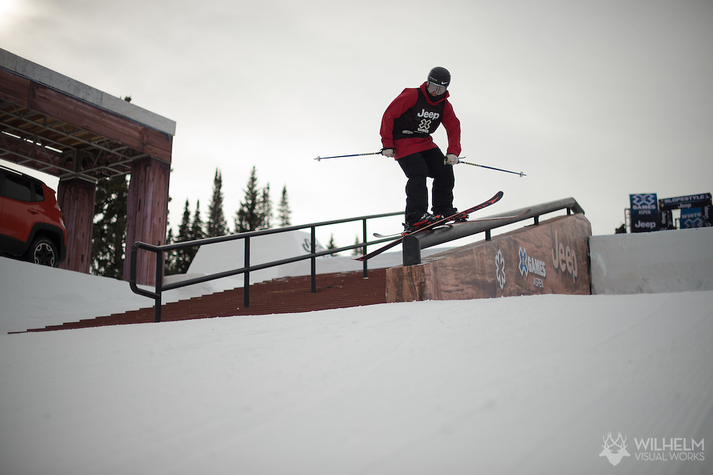 Gus Kenworthy during Ski Slopestyle Practice during 2015 X Games Aspen at Buttermilk Mountain in Aspen, CO. ©Brett Wilhelm/ESPN