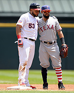 CHICAGO - JULY 01:  Melky Cabrera #53 of the Chicago White Sox playfully hugs Rougned Odor #12 of the Texas Rangers after hitting a double on July 1, 2017 at Guaranteed Rate Field in Chicago, Illinois.  The Rangers defeated the White Sox 10-4.  (Photo by Ron Vesely) Subject:   Melky Cabrera; Rougned Odor