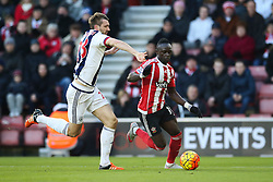 Sadio Mane of Southampton under pressure from Gareth McAuley of West Bromwich Albion - Mandatory by-line: Jason Brown/JMP - 07966386802 - 16/01/2016 - FOOTBALL - Southampton, St Mary's Stadium - Southampton v West Bromwich Albion - Barclays Premier League