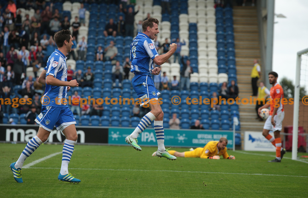 Colchester  United's Chris Porter celebrates his  goal <br /> during the Sky Bet League 2 match between Colchester United and Blackpool at the Weston Homes Community Stadium in Colchester. September 10, 2016.<br /> James K  Galvin / Telephoto Images<br /> +44 7967 642437