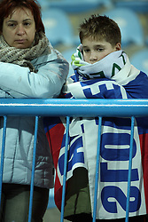 A Slovenian young fan and his mom after the UEFA Friendly match between national teams of Slovenia and Denmark at the Stadium on February 6, 2008 in Nova Gorica, Slovenia.  Slovenia lost 2:1. (Photo by Vid Ponikvar / Sportal Images).