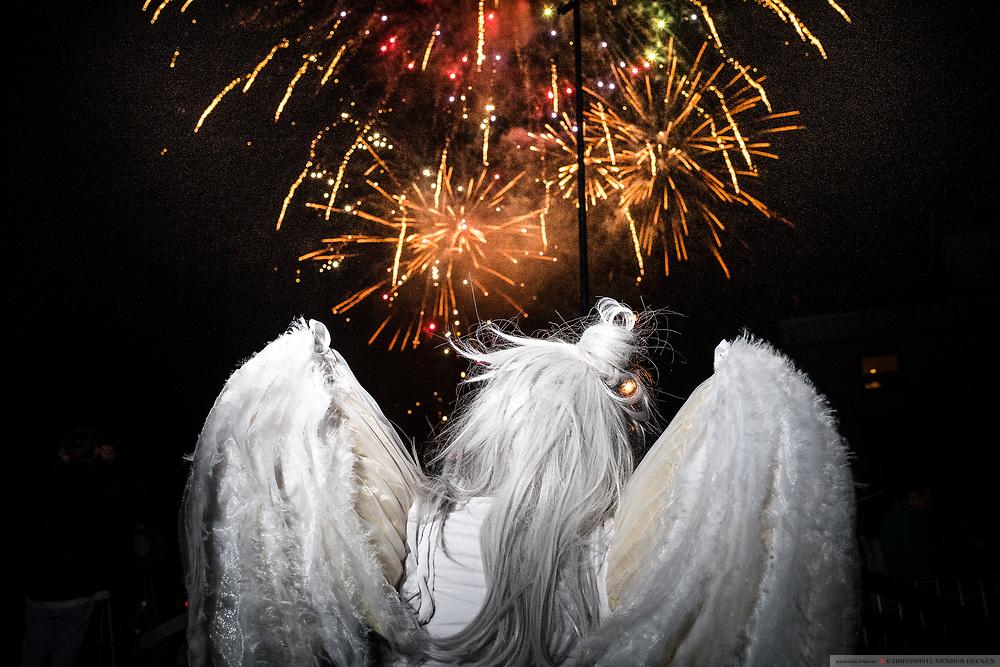 An angel is watching fireworks Ghent, Belgium, 17.09.2016