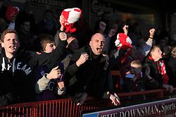 Bristol City fans celebrate as Bristol City's Luke Ayling scores the winning goal - Photo mandatory by-line: Dougie Allward/JMP - Mobile: 07966 386802 - 07/03/2015 - SPORT - Football - Crawley - Broadfield Stadium - Crawley Town v Bristol City - Sky Bet League One