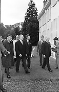 Garden Party at Aras an Uachtarain<br /> 27.6.63<br /> Pictured at the party was President Eamon De Valera and President Kennedy.   *** Local Caption *** It is important to note that under the COPYRIGHT AND RELATED RIGHTS ACT 2000 the copyright of these photographs are the property of the photographer and they cannot be copied, scanned, reproduced or electronically stored in any form whatsoever without the written permission of the photographer