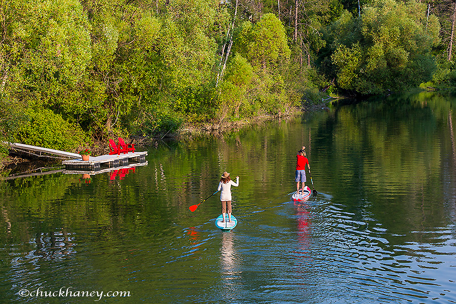 Paddleboarding on the Whitefish River in Whitefish, Montana, USA model released