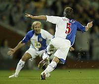 Photo: Aidan Ellis.<br /> Blackburn Rovers v Tottenham Hotspur. The Barclays Premiership. 19/11/2006.<br /> Blackburn's Tugay celebrates his goal with Michael Gray