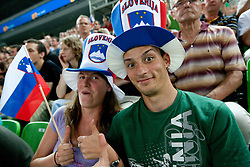 Supporters of Slovenia during friendly basketball match between National teams of Slovenia and Montenegro of Adecco Ex-Yu Cup 2011 as part of exhibition games before European Championship Lithuania 2011, on August 7, 2011, in Arena Stozice, Ljubljana, Slovenia. Slovenia defeated Crna Gora 86-79. (Photo by Vid Ponikvar / Sportida)