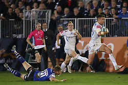 Exeter Chiefs' Henry Slade skips over diving tap tackle from Bath Rugby's Chris Cook during 24-39 away win in the Gallagher Premiership match at the Recreation Ground, Bath.