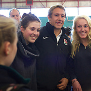 England player Jonny Wilkinson posing for pictures with pupils from Wakatipu High School, Queenstown during a visit by England players  during the IRB Rugby World Cup tournament.  Queenstown, New Zealand. 15th September 2011. Photo Tim Clayton..