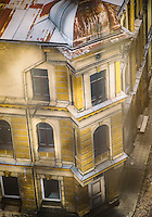 LATVIA, CESIS - CIRCA JUNE 2014: View of  typical construction in the old town of Cesis
