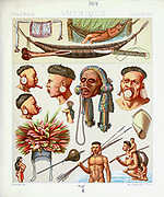 Ancient South American Amazonian tribal fashion and accessories from Geschichte des kostüms in chronologischer entwicklung (History of the costume in chronological development) by Racinet, A. (Auguste), 1825-1893. and Rosenberg, Adolf, 1850-1906, Volume 1 printed in Berlin in 1888