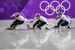 February 17, 2018 - Pyeongchang, Gangwon, South Korea - Lim Hyojun of South Korea, Hwang Daeheon of South Korea..and Seo Yira of South Korea competing in 1000 meter speed skating for men at Gangneung Ice Arena, Gangneung, South Korea on 17 February 2018. (Credit Image: © Ulrik Pedersen/NurPhoto via ZUMA Press)