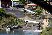 Chiswick, Greater London, UK., 11th October 2020, General View, crews boating, Thames Tradesman BC. Pairs Head of the River Race, Restricted entry and Shortened Course, COVID-19,  Barnes Bridge and Dukes Meadows location, [Mandatory Credit: Peter Spurrier/Intersport Images]
