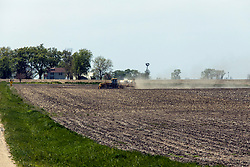 A sprayer applies herbicide or other farm chemicals on a field in Central Illinois
