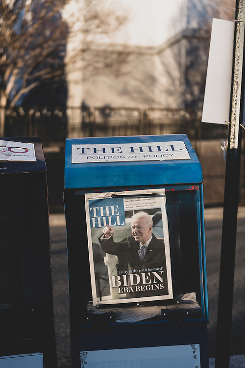 Washington DC, USA - January 21, 2021: President Biden on the cover of The Hill the day after his inauguration.