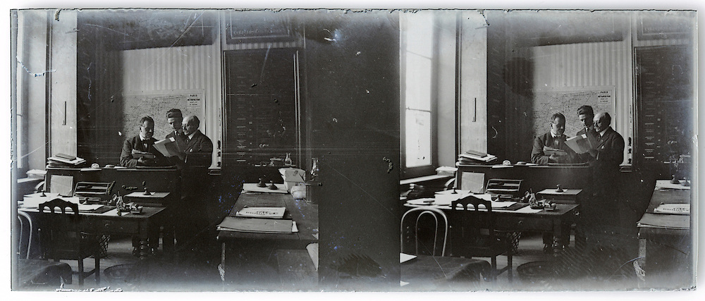 stereo 1900s image interior office and people working