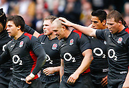 Dylan Hartley pats Mike Tindall on teh head after England's first try during the Investec series international between England and Australia at Twickenham, London, on Saturday 13th November 2010. (Photo by Andrew Tobin/SLIK images)