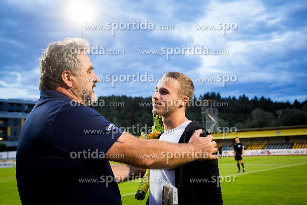 Stane Orazem and Jan Repas during football match between NK Domžale and NK Aluminij in 6th Round of Prva liga Telekom Slovenije 2017/18, on August 20, 2017 in Sports park Domzale, Domzale. Photo by Ziga Zupan / Sportida