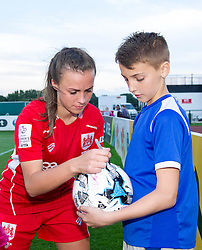 Georgia Evans of Bristol City Women signs autographs after the last home game of the season at Stoke Gifford Stadium - Mandatory by-line: Paul Knight/JMP - 24/09/2016 - FOOTBALL - Stoke Gifford Stadium - Bristol, England - Bristol City Women v Durham Ladies - FA Women's Super League 2