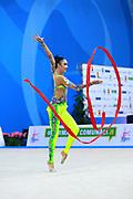 Hayakawa Sakura during qualifying at ribbon in Pesaro World Cup 2 April, 2016. Sakura is a Japan rhythmic gymnastics athlete born March 17, 1997 in Osaka, Japan. She appeared in Senior competitions in the 2013 season