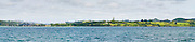 Panoramic view of the Waitangi Treaty Grounds from the water, Bay of Islands, Northland, New Zealand.