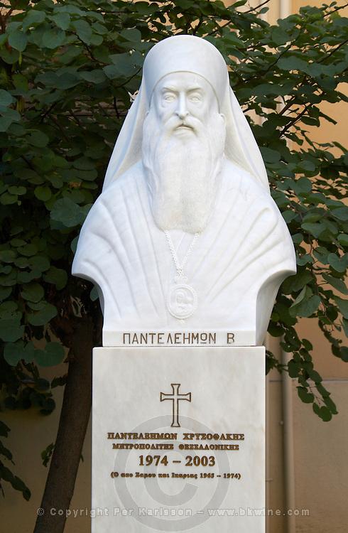 Statue of Panteleimon, 1974 - 2003. Priest. Thessaloniki, Macedonia, Greece