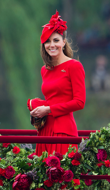 © Licensed to London News Pictures. 03/06/2012. London, UK. Catherine Duchess of Cambridge  on board Royal Barge Spirit of Chartwell during the Jubilee Pageant on the River Thames, London on June 03,2012 as part of The Diamond Jubilee celebrations. Great Britain is celebrating the 60th  anniversary of the countries Monarch HRH Queen Elizabeth II accession to the throne . Photo credit : Ben Cawthra/LNP