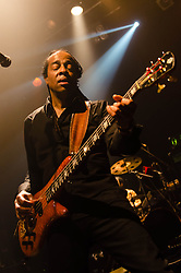 "© Licensed to London News Pictures. 08/03/2013. London, UK.  Doug Wimbish of  Living Colour performing live at KOKO at the band's only UK date on their tour celebrating the 25th Year Anniversary for their debut album Vivid.  In 1990 they won a Grammy Award for Best Hard Rock Performance for their song ""Cult of Personality"", which featured on ""Vivid"".  The band formed in New York City in 1984 and consist of Vernon Reid (guitar), Corey Glover (vocals), Will Calhoun (drums) , and Doug Wimbish (bass).  Photo credit : Richard Isaac/LNP"