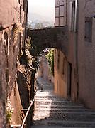 Medievil street in Valence, in the Drôme region, France