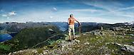 Bertil Aardal, 86,  on the mountain Olahansfjellet, lake Joelster behind.18 august 2008