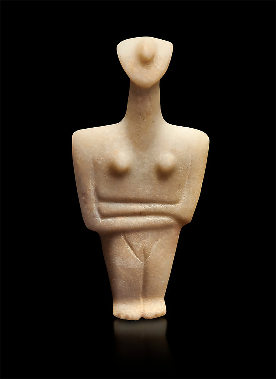 Marble female Cycladic statue figurine with folded arms. Early Cycladic Period II (2800-2300 BC) from Chalandriani, Syros. National Archaeological Museum, Athens. Black background. .<br /> <br /> If you prefer to buy from our ALAMY PHOTO LIBRARY  Collection visit : https://www.alamy.com/portfolio/paul-williams-funkystock/cycladic-art-artefacts.html Type into the LOWER SEARCH WITHIN GALLERY box to refine search by adding background colour, place, museum etc<br /> <br /> Visit our CYCLADIC CIVILISATIONS PHOTO COLLECTIONS for more photos to download or buy as wall art prints https://funkystock.photoshelter.com/gallery-collection/Cycladic-civilisation-Ancient-Greek-Artefacts-art-Photos-Pictures-Images/C0000CmevVvnC.XU