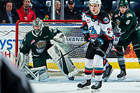KELOWNA, BC - FEBRUARY 28: Dustin Wolf #32 of the Everett Silvertips defends the net against the Kelowna Rockets at Prospera Place on February 28, 2020 in Kelowna, Canada. Wolf was selected in the 2019 NHL entry draft by the Calgary Flames. (Photo by Marissa Baecker/Shoot the Breeze)