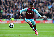 Edimilson Fernandes of West Ham utd in action.  Premier league match, Stoke City v West Ham Utd at the Bet365 Stadium in Stoke on Trent, Staffs on Saturday 29th April 2017.<br /> pic by Bradley Collyer, Andrew Orchard sports photography.