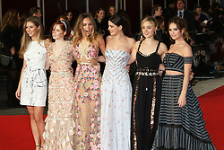 Hermione Corfield, Ellie Bamber, Suki Waterhouse, Millie Brady, Bella Heathcote, Lily James , Pride And Prejudice And Zombies - European Film Premiere,  Leicester Square, London UK, 1 February 2016, Photo by Richard Goldschmidt /LNP © London News Pictures