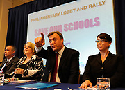 Shadow Education Secretary Ed Balls during a rally and protest about the proposed cuts in the building of Schools at Methodist Hall, Westminster, London, UK. Ed Balls is a British Labour Party politician. He was the Member of Parliament (MP) for Normanton from 2005 to 2010 and for Morley and Outwood from 2010 to 2015. Balls was Chief Economic Advisor to the Treasury (1997-2004), Economic Secretary to the Treasury (2006-7) and served as Secretary of State for Children, Schools and Families in Gordon Brown's Government from 2007 to 2010. He was the Shadow Chancellor of the Exchequer at the time of his electoral defeat.