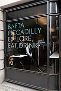 BAFTA's temporary location on Piccadilly on the 16th September 2019 in London in the United Kingdom. The British Academy of Film and Television Arts (BAFTA) is an independent charity that supports, develops and promotes the art forms of the moving image in the UK. Currently undergoing a major new renovation project at their 195 Piccadilly office.