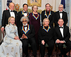 """Recipients of the 2011 Kennedy Center Honors pose for a photo following a dinner hosted by United States Secretary of State Hillary Rodham Clinton at the U.S. Department of State in Washington, D.C. on December 3, 2011. The 2011 honorees are actress Meryl Streep, singer Neil Diamond, actress Barbara Cook, musician Yo-Yo Ma, and musician Sonny Rollins. Back row, from left to right: George Stevens, Jr., creator of """"The Kennedy Center Honors""""; Yo-Yo Ma; Meryl Streep; Neil Diamond; and David M. Rubenstein, Chairman, John F. Kennedy Center for the Performing Arts. Front row, from left to right: Secretary Clinton; Sonny Rollins; Barbara Cook; and Michael M. Kaiser, President, John F. Kennedy Center for the Performing Arts. Photo by Ron Sachs/CNP/ABACAPRESS.COM"""