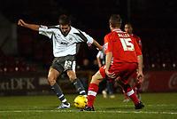 Photo: Olly Greenwood.<br />Leyton Orient v Bristol City. Coca Cola League 1. 01/11/2006. Bristol's Barry Corr shots at goal past Leyton's Justin Miller