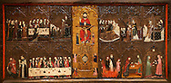 Gothic painted Altarpiece of the Corpus Christi by Master of Vallbona de les Monges possibly Guillem Seguer. Tempera, stucco reliefs, gold leaf and varnished metal plate on wood. Circa 1335-1345. 108.8 x 222 x 8.7 cm. From the chapel of Corpus Christi in the church of the monastery of Santa Maria de Vallbona de les Monges (Urgell).  National Museum of Catalan Art, inv no: 009920-000 .<br /> <br /> If you prefer you can also buy from our ALAMY PHOTO LIBRARY  Collection visit : https://www.alamy.com/portfolio/paul-williams-funkystock/romanesque-art-antiquities.html<br /> Type -     MNAC     - into the LOWER SEARCH WITHIN GALLERY box. Refine search by adding background colour, place, subject etc<br /> <br /> Visit our ROMANESQUE ART PHOTO COLLECTION for more   photos  to download or buy as prints https://funkystock.photoshelter.com/gallery-collection/Medieval-Romanesque-Art-Antiquities-Historic-Sites-Pictures-Images-of/C0000uYGQT94tY_Y