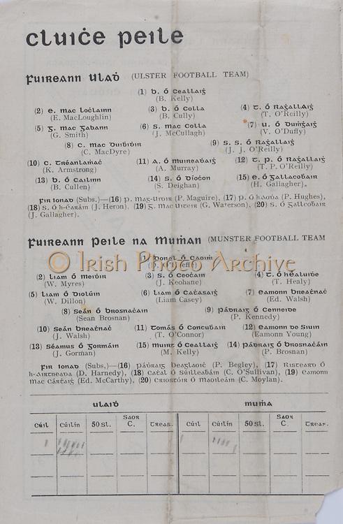 Interprovincial Railway Cup Football Cup Final, 17.03.1942, 03.17.1942, 17th March 1942,  Ulster 1-10, Munster1-05, Ulster Football Team, B Kelly, E MacLoughlin, B Cully, T O'Reilly, G Smith, J McCullagh, V O'Duffy, C Mac Dyre, J J O'Reilly, K Amstrong, A Murray, T P O'Reilley, B Cullen, S Deighan, H Gallagaher, P Maguire, P Hughes, J Heron, G Waterson, J Gallagher, Munster Football Team, D O'Keeffe, W Myres, J Keohane, T Healy, W Dillon, Liam Casey, Ed Walsh, Sean Brosnan, P Kennedy, J Walsh, T O'Connor, Eamonn Young, J Gorman, M Kelly, P Brosnan, P Begley, D Harnedy, C O'Sullivan, Ed McCarthy, C Moylan, .Interprovincial Railway Cup Hurling Cup Final, 17.03.1942, 03.17.1942, 17th March 1942,Munster 4-09, Leinster 4-05,