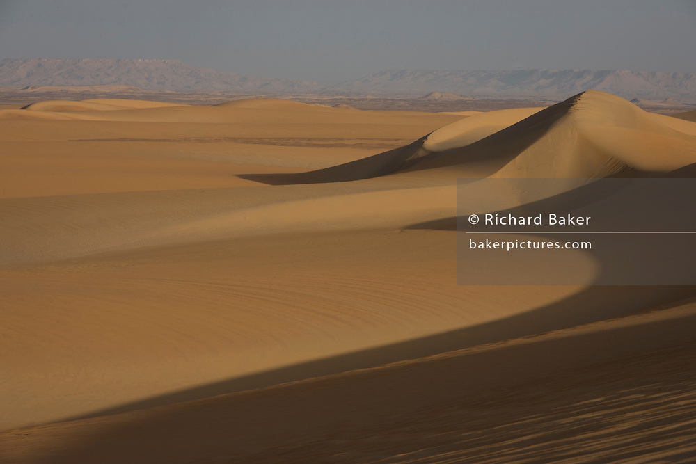 Arid and barren desert dune landscape at al-Galamun, near Dahkla Oasis, Western Desert, Egypt. The Western Desert covers an area of some 700,000 km2, thereby accounting for around two-thirds of Egypt's total land area. Dakhla Oasis is one of the seven oases of Egypt's Western Desert (part of the Libyan Desert). It lies in the New Valley Governorate, 350 km (220 mi.) and measures approximately 80 km (50 mi) from east to west and 25 km (16 mi) from north to south.