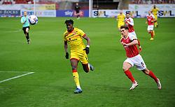 Charlie Raglan of Cheltenham Town chases down Elijah Adebayo of Walsall- Mandatory by-line: Nizaam Jones/JMP - 21/11/2020 - FOOTBALL - Jonny-Rocks Stadium - Cheltenham, England - Cheltenham Town v Walsall - Sky Bet League Two