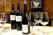 Cuvee Racine, Minervois and Merlot Cabernet Sauvignon Vin de Pays d'Oc. Domaine Terres Georges. In Castelnau d'Aude. Minervois. Languedoc. Tasting wine. France. Europe. Bottle. Wine glass.