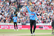Sussex's Danny Briggs celebrates his wicket during the Vitality T20 Finals Day semi final 2018 match between Sussex Sharks and Somerset at Edgbaston, Birmingham, United Kingdom on 15 September 2018.