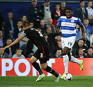 Jay Emmanuel-Thomas (QPR midfielder) attacking the Carlisle United defence during the Capital One Cup match between Queens Park Rangers and Carlisle United at the Loftus Road Stadium, London, England on 25 August 2015. Photo by Matthew Redman.