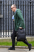Prime Minister Boris Johnson's key adviser Dominic Cummings, who has suggested the NHS could provide funding to allow people to select genetic traits such as intelligence for babies, arrived in Ten Downing Street in London on Wednesday, Mar 18, 2020. (Photo/Vudi Xhymshiti)