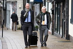 © Licensed to London News Pictures. 21/11/2017. Wakefield, UK. Don Maguire (husband of Ann Maguire on the right) arrives at Wakefield Coroners Court this morning for the seventh & final day of the Ann Maguire inquest. Mrs Maguire, a 61 year old Spanish teacher, was stabbed to death by Will Cornick at Corpus Christi Catholic College in Leeds in April 2014. The school pupil, who was 15 at the time, admitted murdering Mrs Maguire and was given a life sentence later that year. Since then, some of Mrs Maguire's family have campaigned for further investigation into her death as they believe more could have been done to prevent the tragedy. Photo credit: Andrew McCaren/LNP